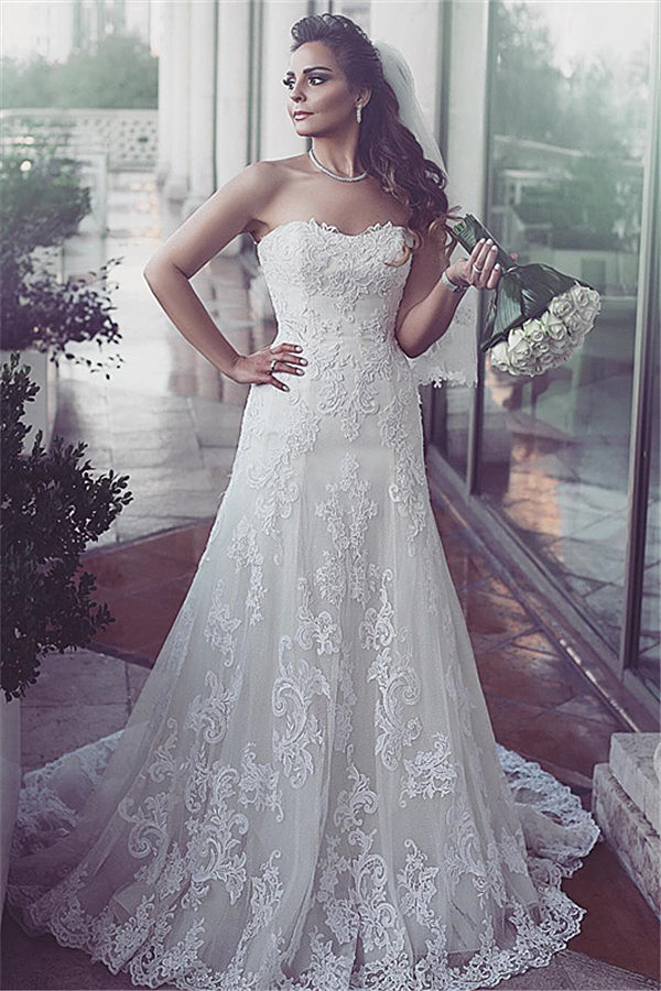 Lace Sweetheart Sleeveless Tulle Elegent Sweep-Train Wedding ...