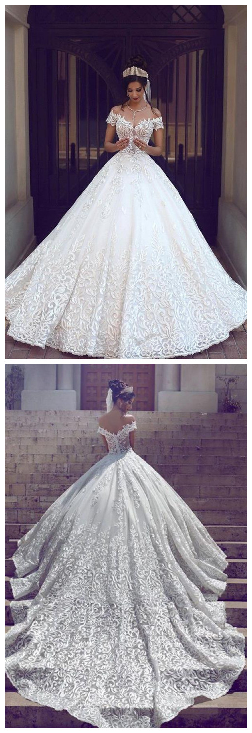 new Off-the-shoulder wedding gowns Short Sleeve ball gowns Wedding ...
