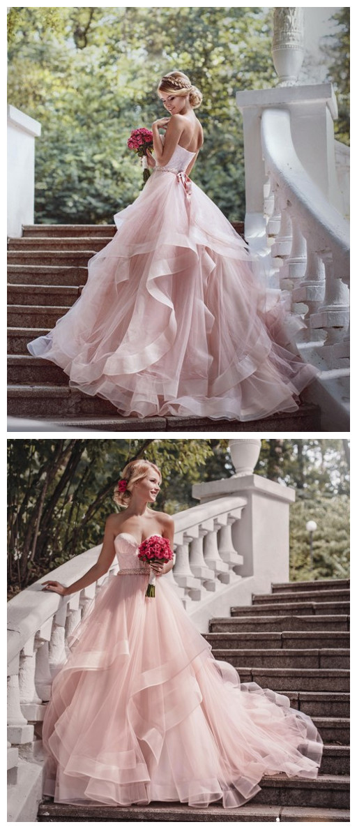 Luxurious Sweetheart bridal gowns wedding gowns Pink Wedding Dress ...