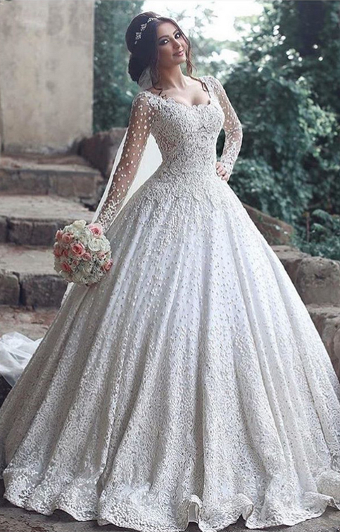 Beautiful Long Sleeve Lace Wedding Dress Ball Gown Floor