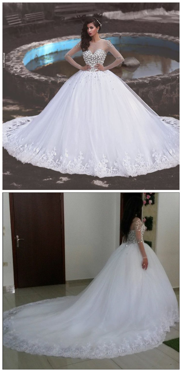 Newest Crystals Tulle Lace Illusion Wedding Dress Long Sleeve Ball ...