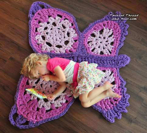 Purple Butterfly Rug - Handmade for Children Room Decor or Girl Nursery