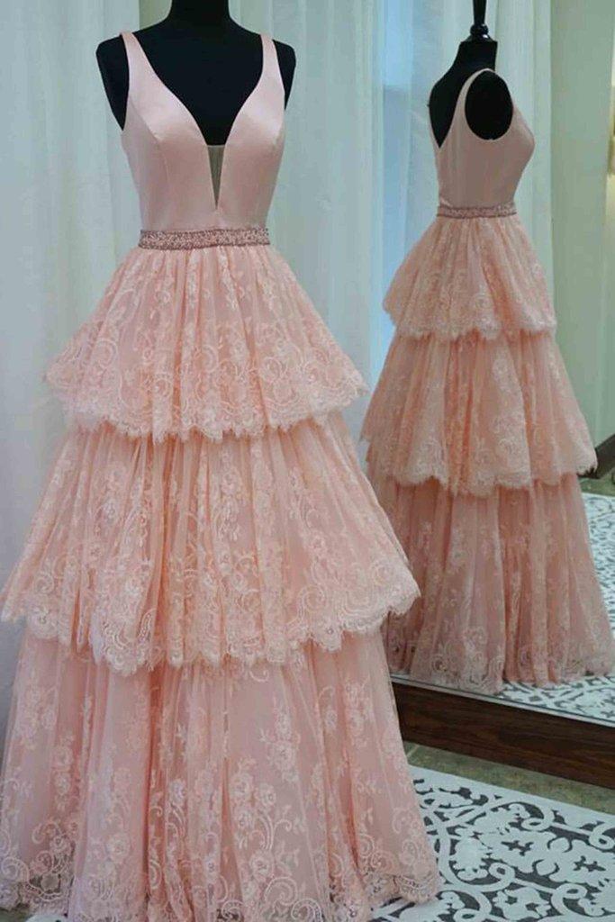 XP380 Light orange lace satins v-neck tiered A-line long dress for ...