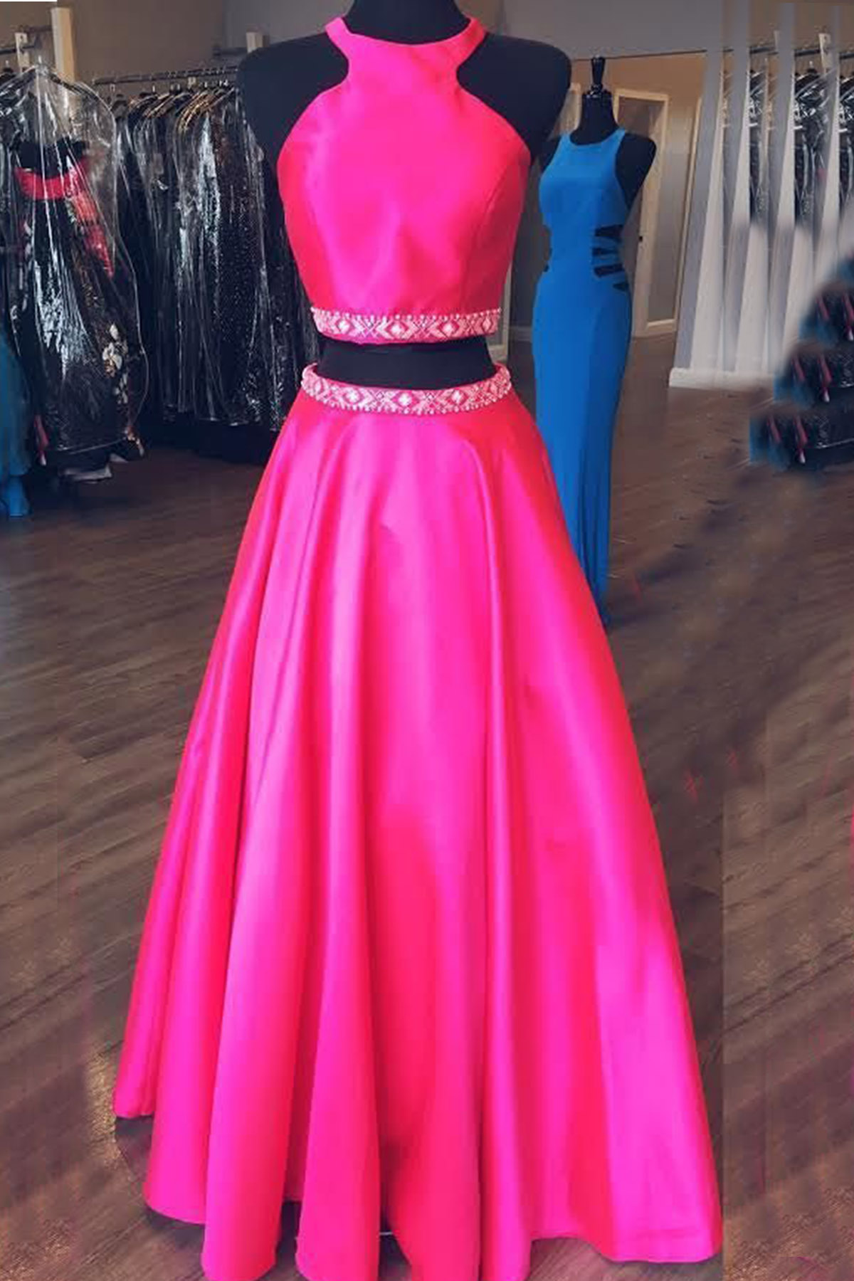Hot pink satin two pieces beaded open back long senior prom dress ...