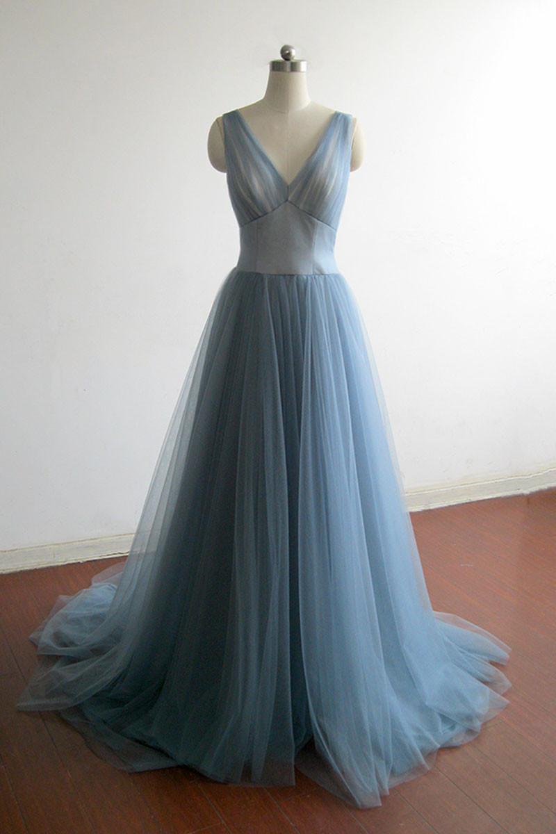 Cheap Prom Dresses by SweetheartDress · Elegant blue tulle V neck ...
