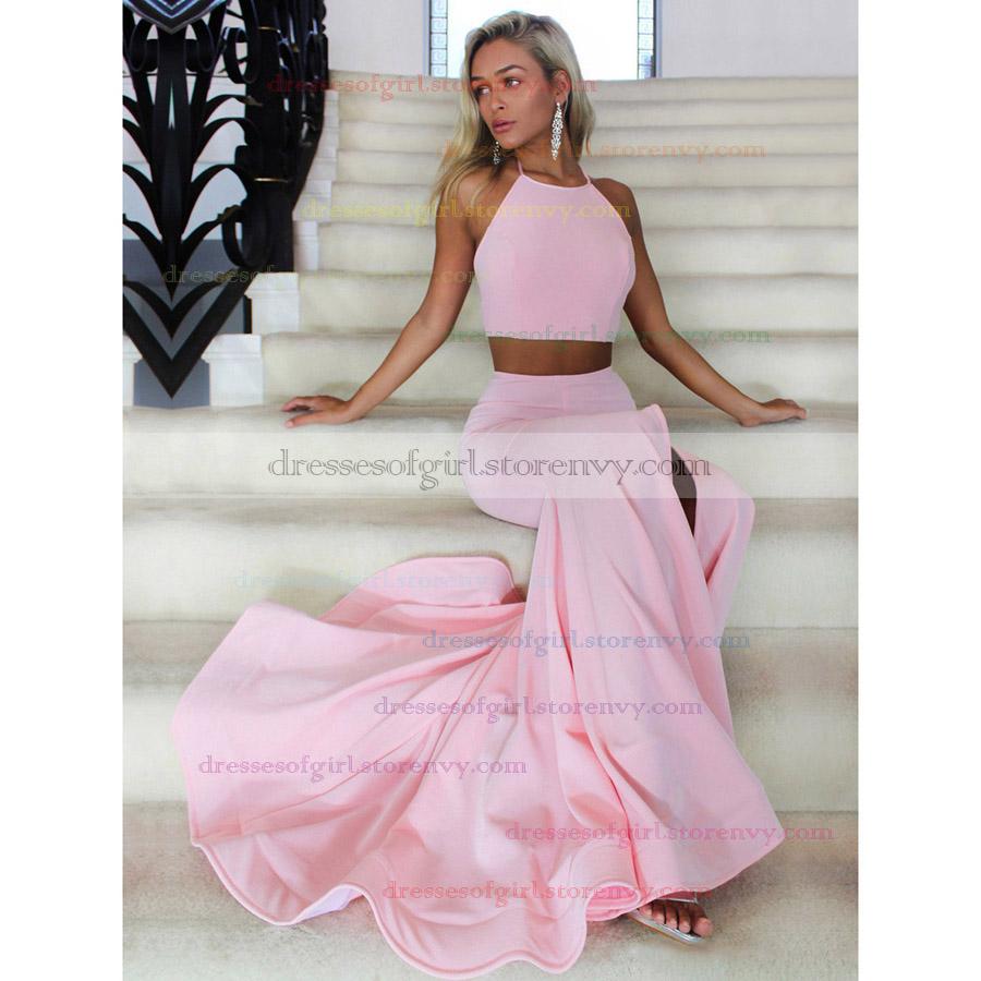 Hot Trumpet/Mermaid Halter Prom Dresses, Satin Court Train Two Piece ...