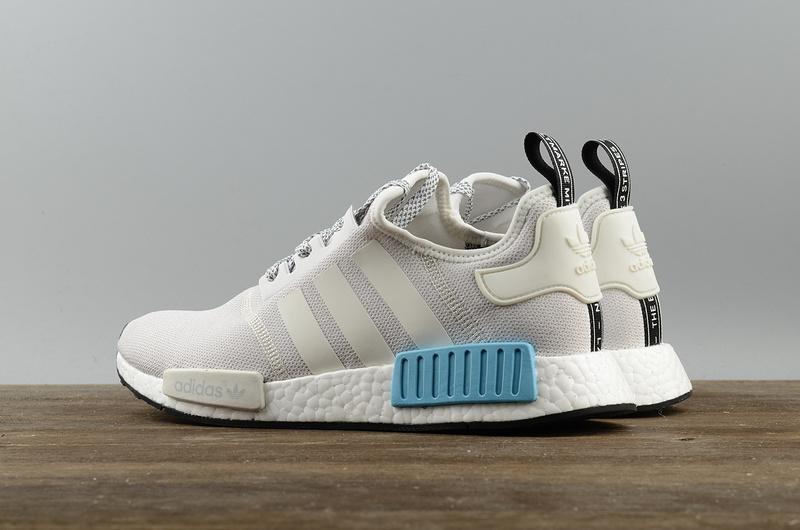 Moda Adidas NMD R1 blanco azul zapatillas · belldress Boost PK