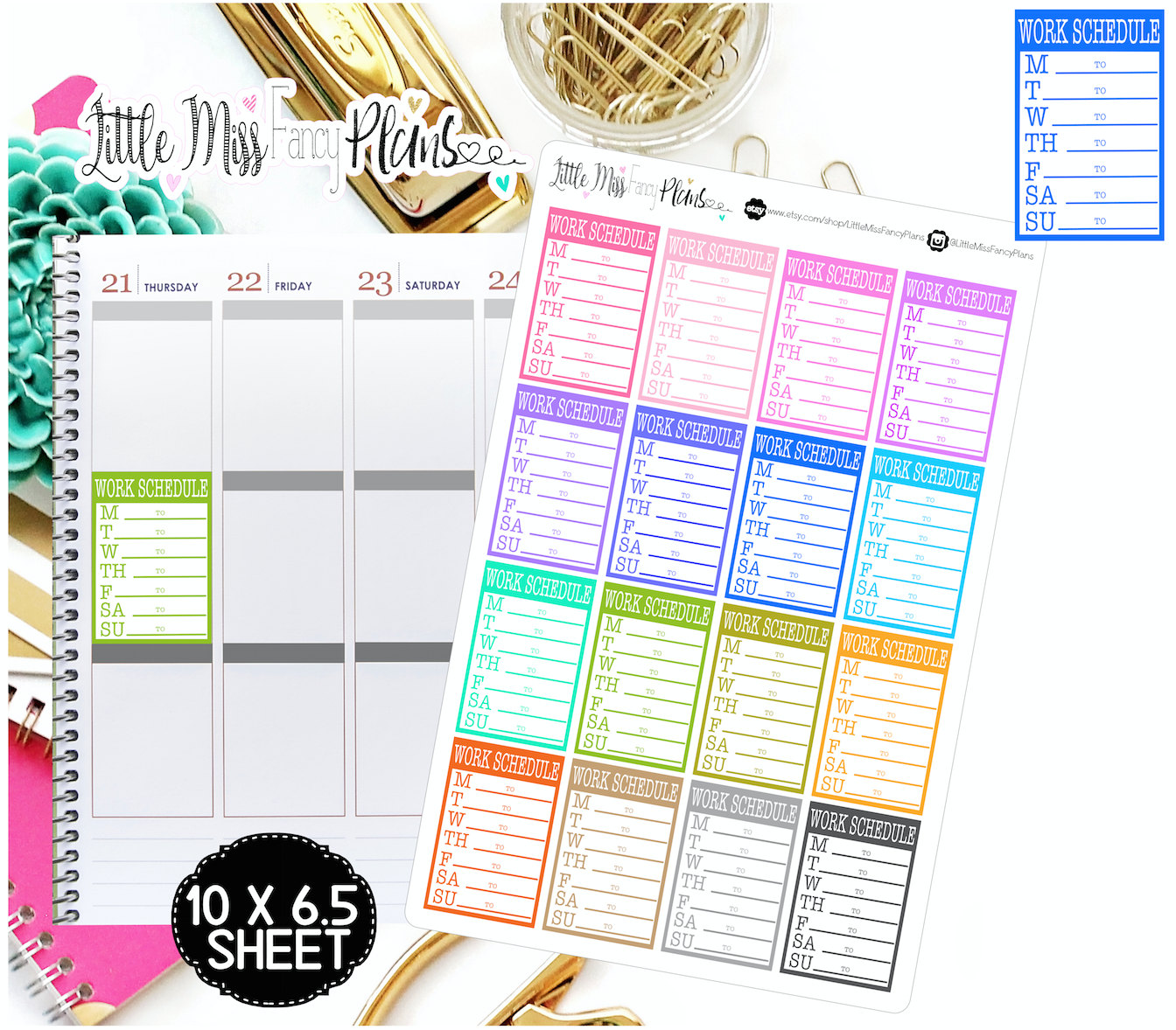 weekly work schedule boxes erin condren happy planner stickers