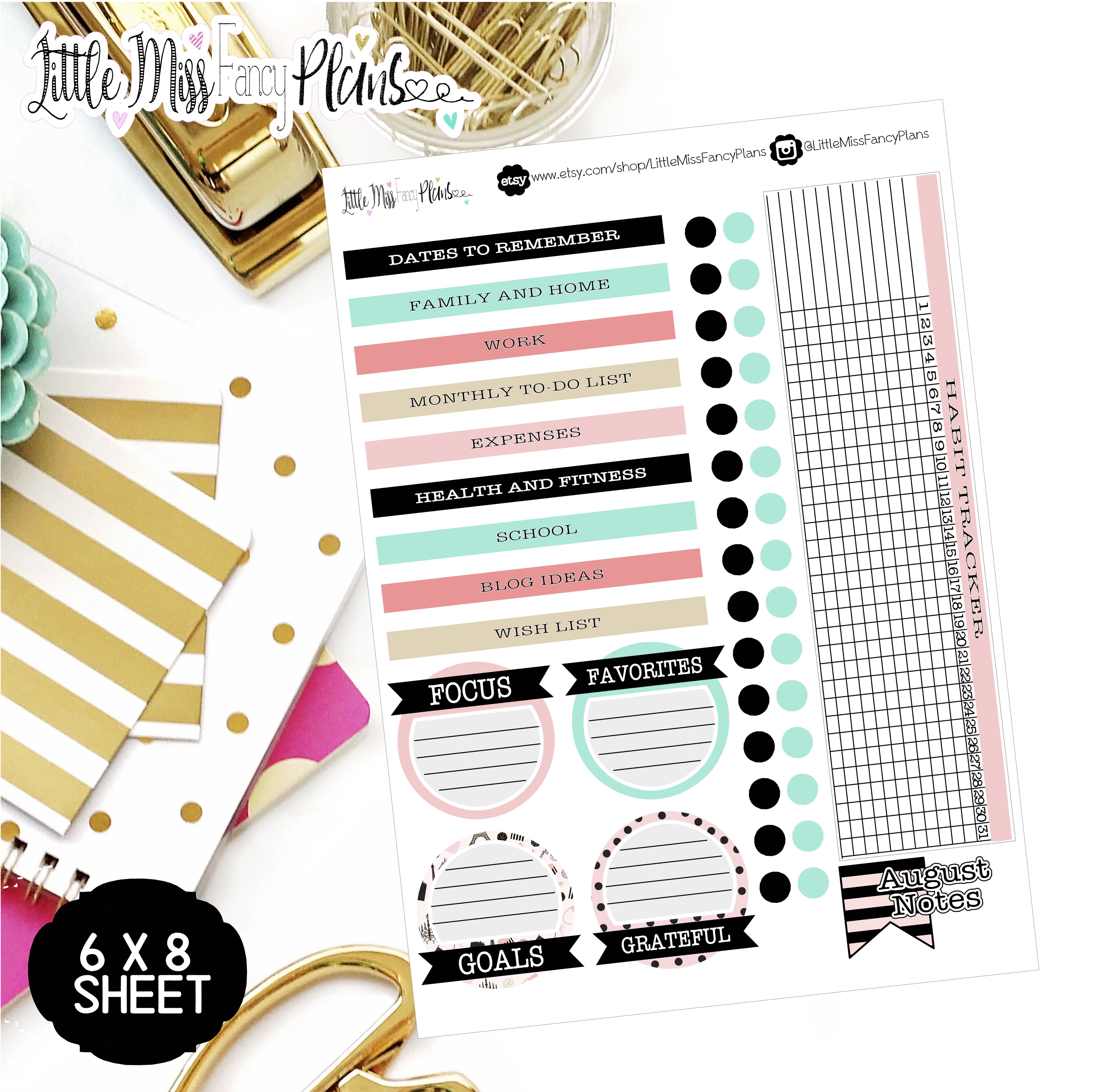 parisian ec notes page kit erin condren happy planner stickers
