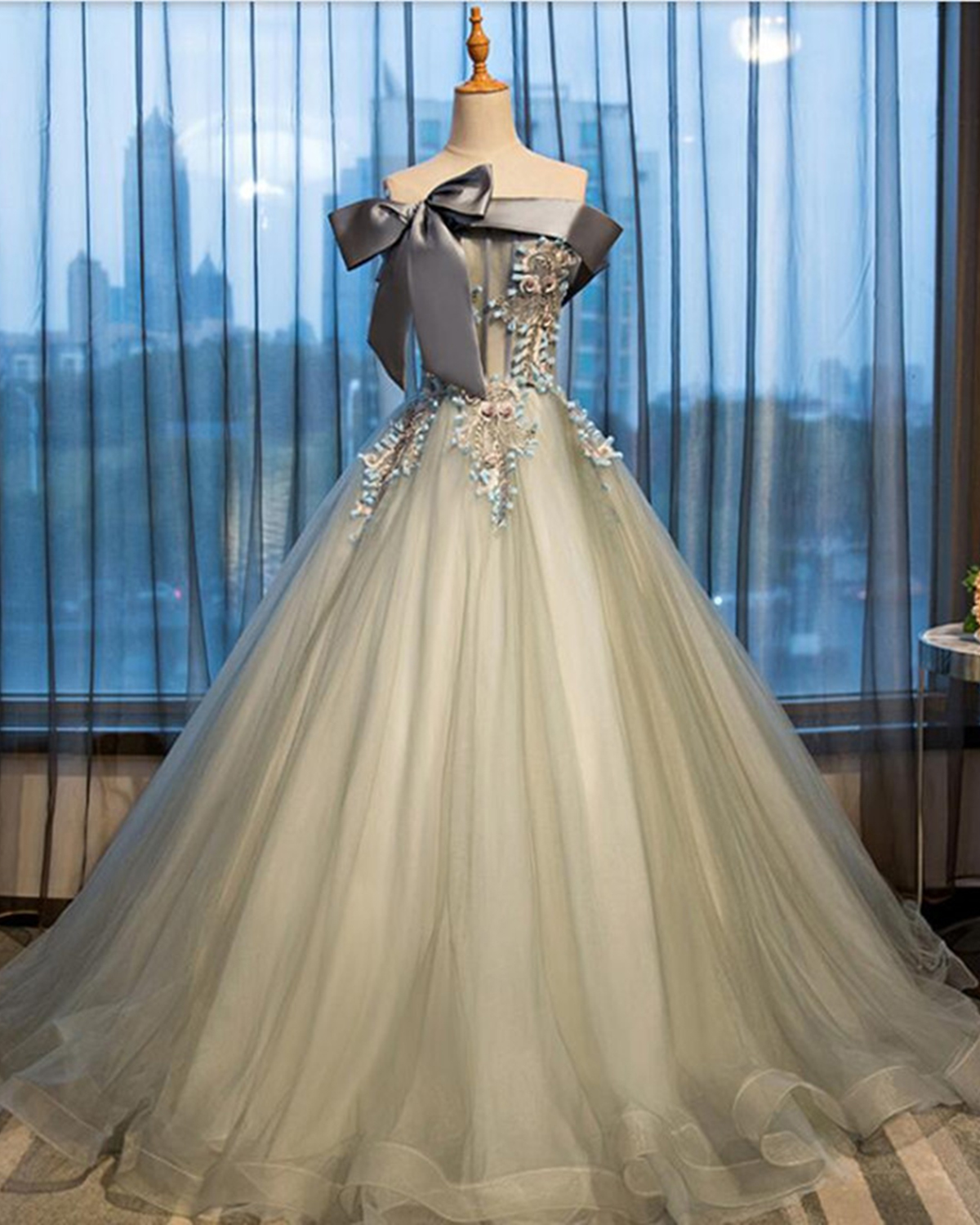 Grey tulle off shoulder long lace appliques formal prom dress ...