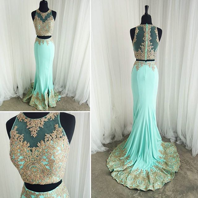Mint Prom Dresses Gold Lace Appliques Mermaid Formal Evening Gowns