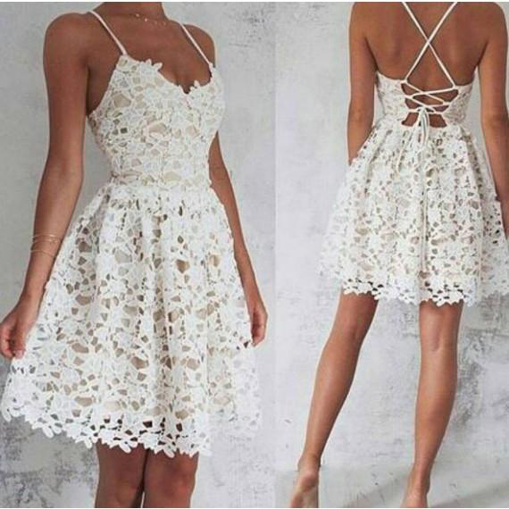 Cute Homecoming Dresses,Lace Homecoming Dresses,Ivory Homecoming ...
