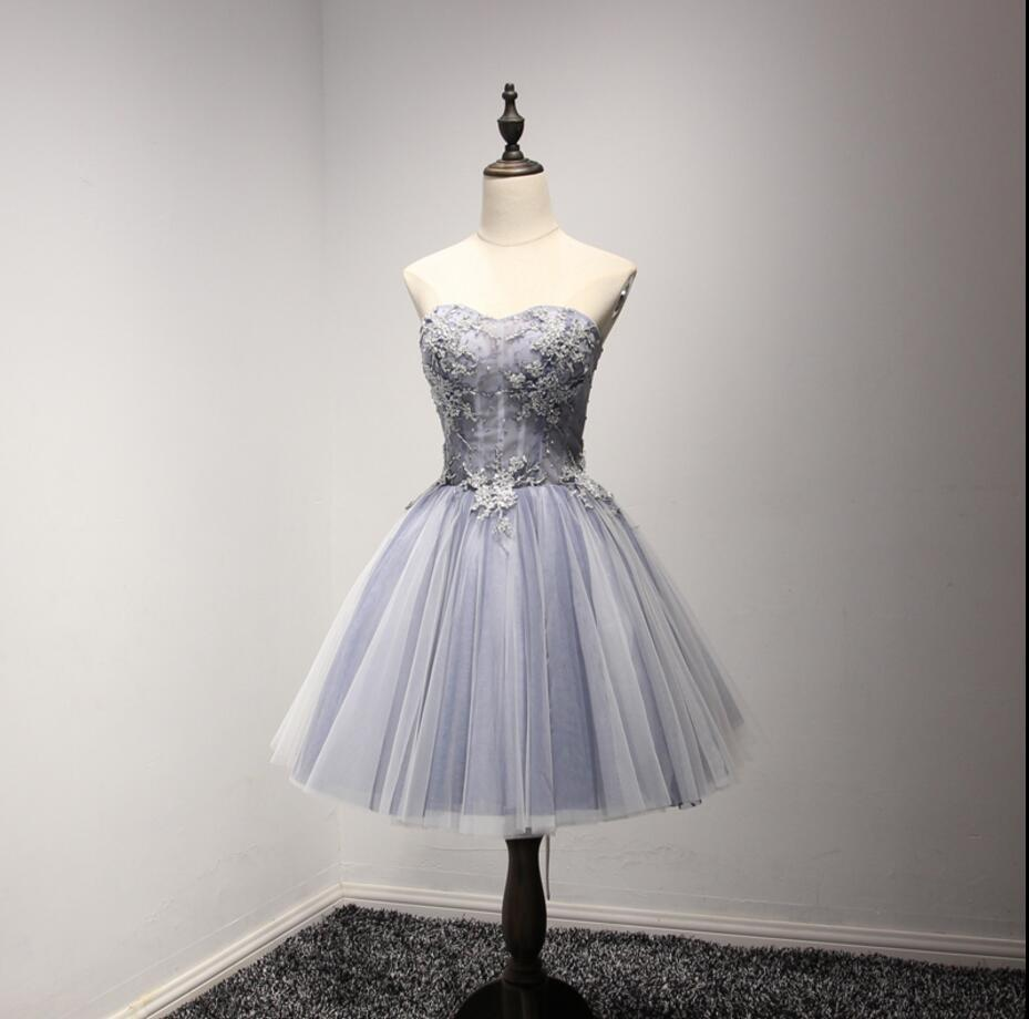 Strapless See Through Gray Lace Homecoming Prom Dresses, Affordable ...