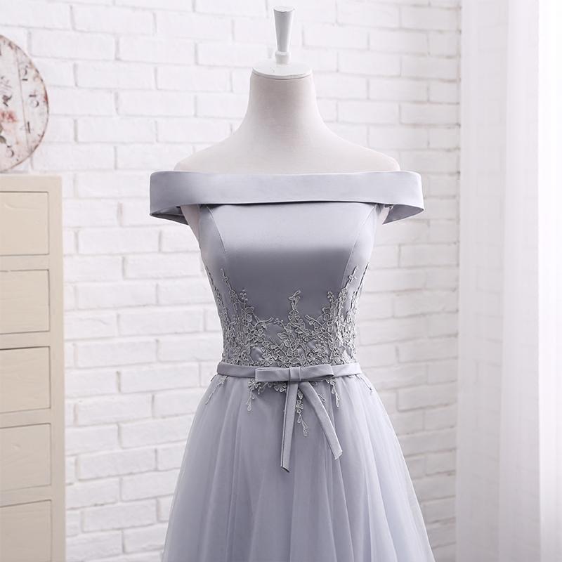 Little Cute   Elegant A line gray off shoulder long prom dress ...