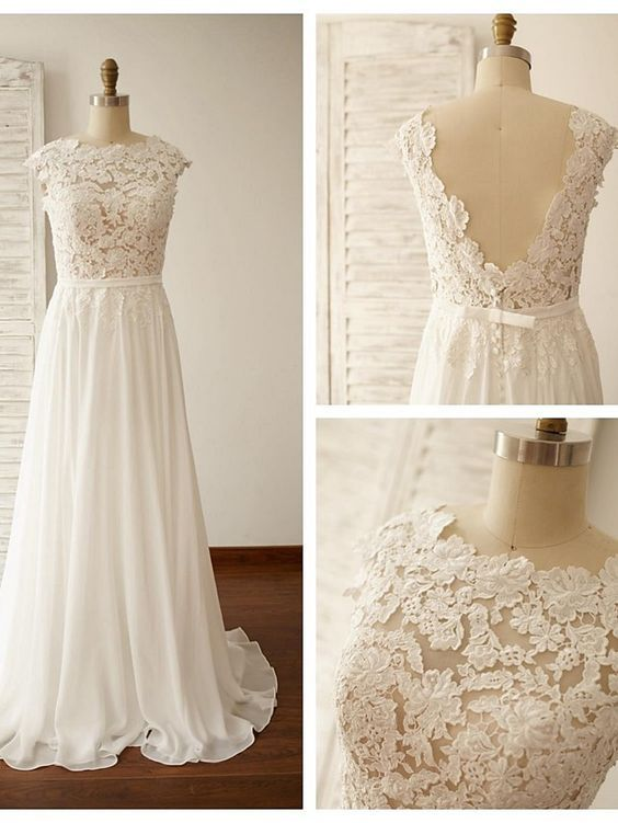 Simple Beach Wedding Gowns Lace Backless Capped Sleeves A-line ...