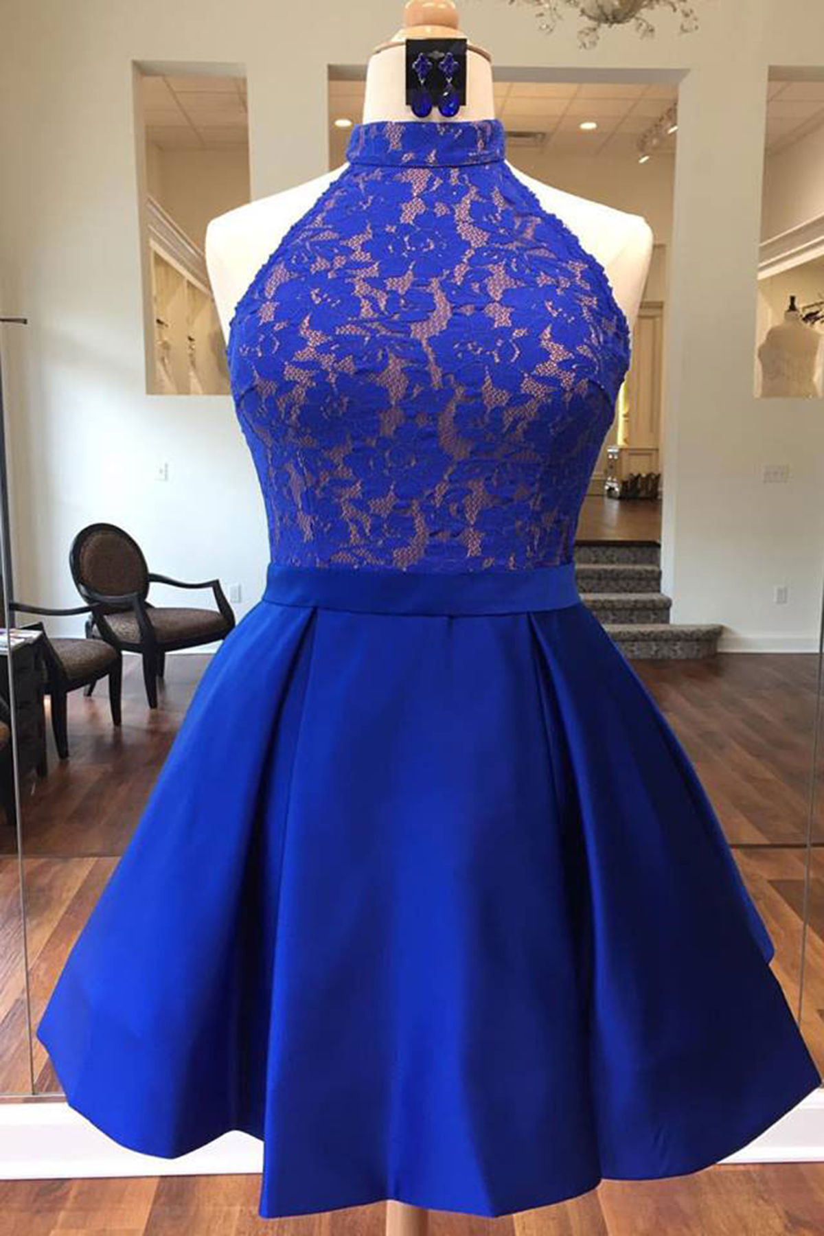 Royal blue satin short lace bridesmaid dress halter prom for Royal blue short wedding dresses