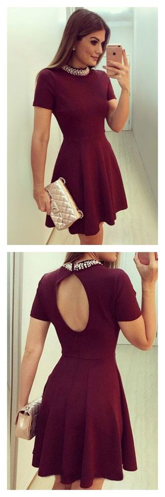 A Line Burgundy High Neck Short Sleeves Homecoming Dresses