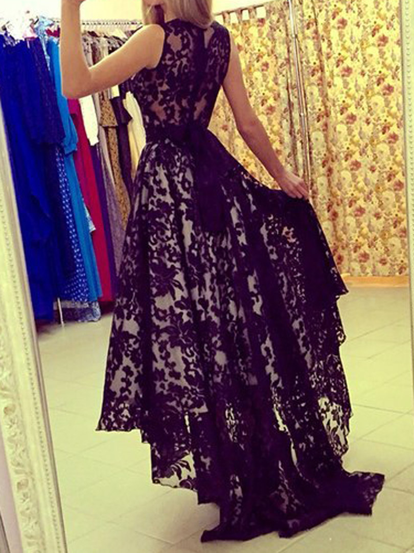 Chic Hi-Low Black Scoop Sleeveless Lace Prom Party Dress · Queen ...