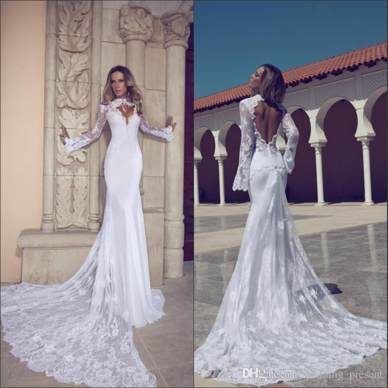 Trendy Mermaid Sexy Wedding Dresses Long Sleeve High Neck Open Back
