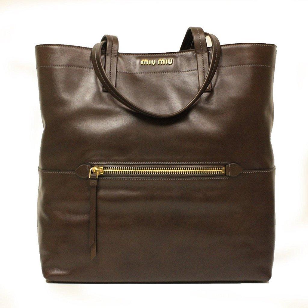 7f2a5d6b142a Miu Miu RR1820 Vitello Soft Brown Leather Shopping Tote Bag  759.00