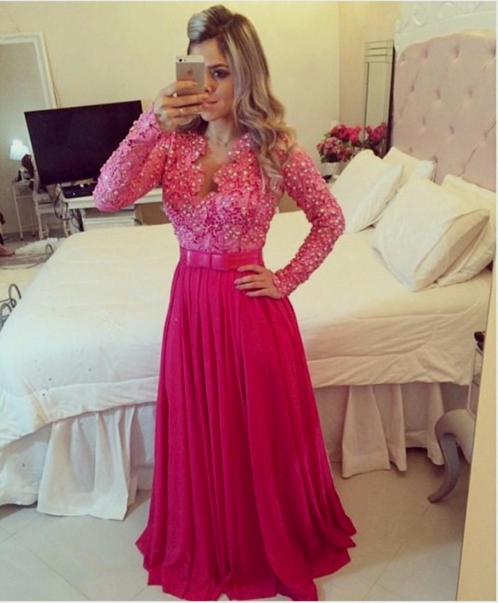 New Lace Prom Dresses Beaded Long Sleeves Chiffon Elegant Hot Pink ...