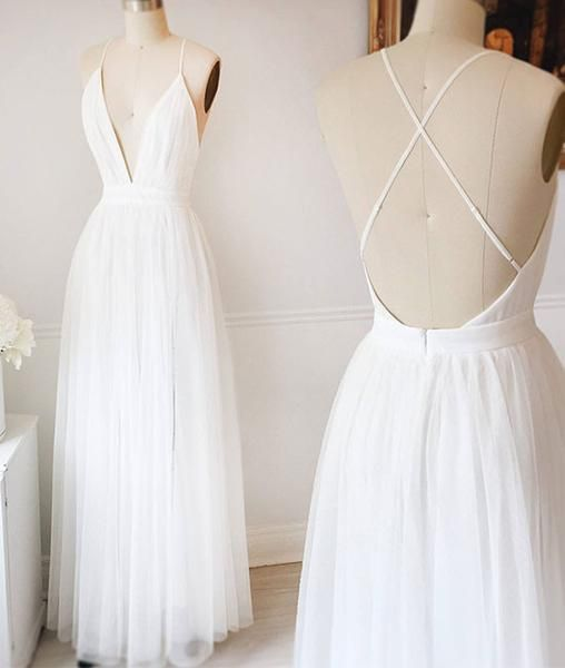 prom dresses,Simple white v neck tulle long prom dress, white ...