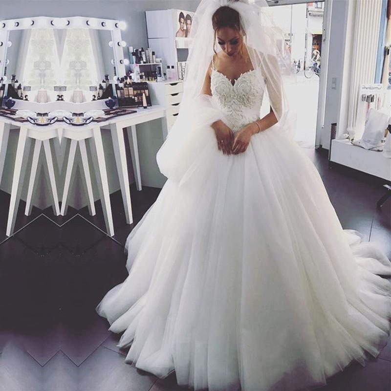 33ccbbf9ea4 pearl embroidery beaded sweetheart tulle princess wedding dresses 2017
