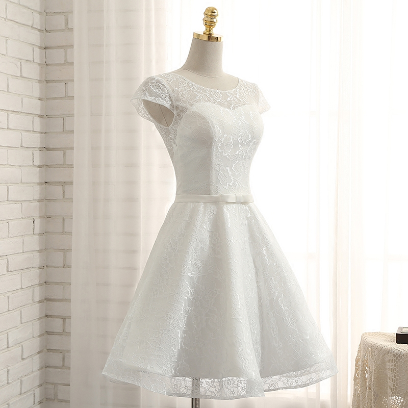 of girl | Cute a line white lace short prom dress, homecoming ...