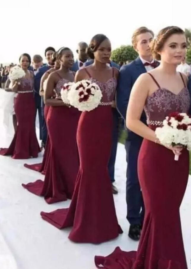 Mermaid Burgundy Long Bridesmaid Dresses African Straps Lace Maid Of ...