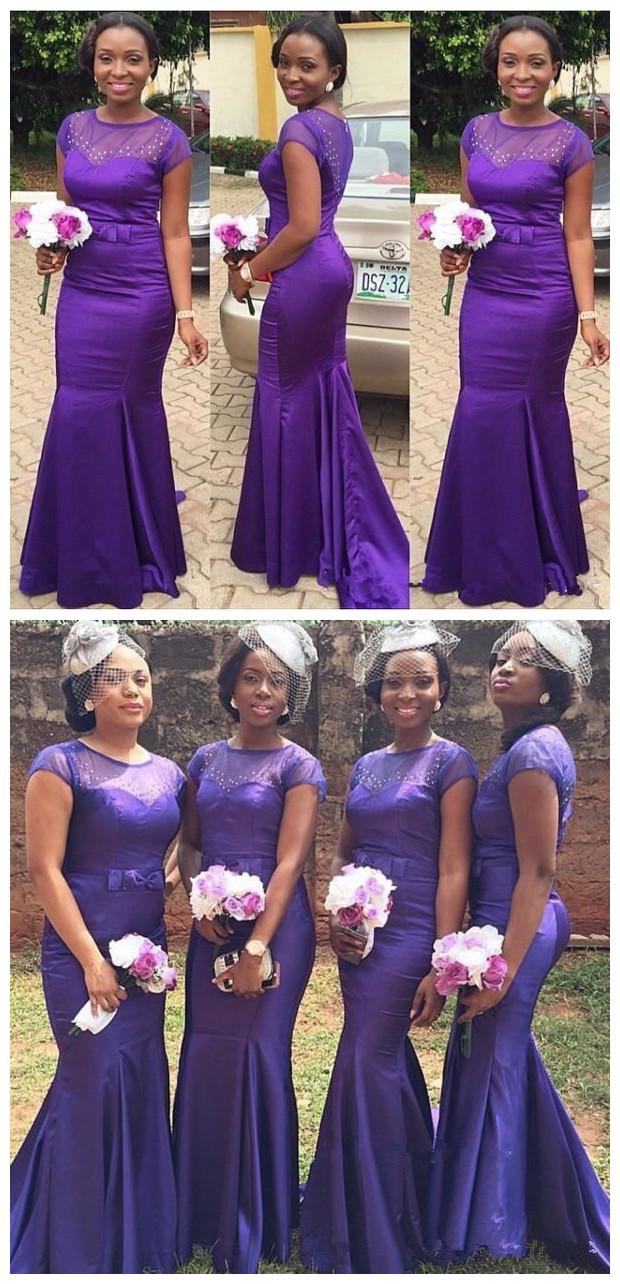 New purple african aso ebi satin mermaid long bridesmaid dresses new purple african aso ebi satin mermaid long bridesmaid dresses sheer short sleeves beaded party ombrellifo Gallery