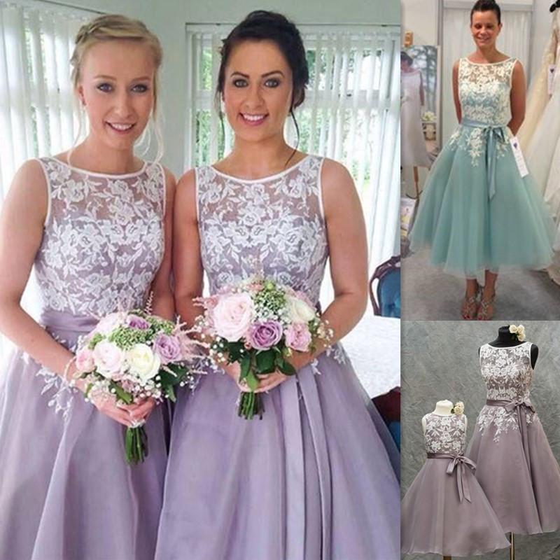 New Short Tea Length Bridesmaid Dresses Lace Appliques Sheer Bateau ...
