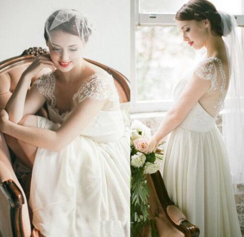 Vintage cap sleeve lace chiffon V neck beach white ivory wedding ...