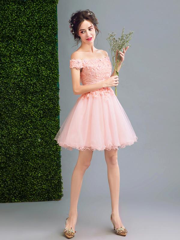 Off-the-shoulder Homecoming dresses,Pink A-line V-neck Short Mini ...