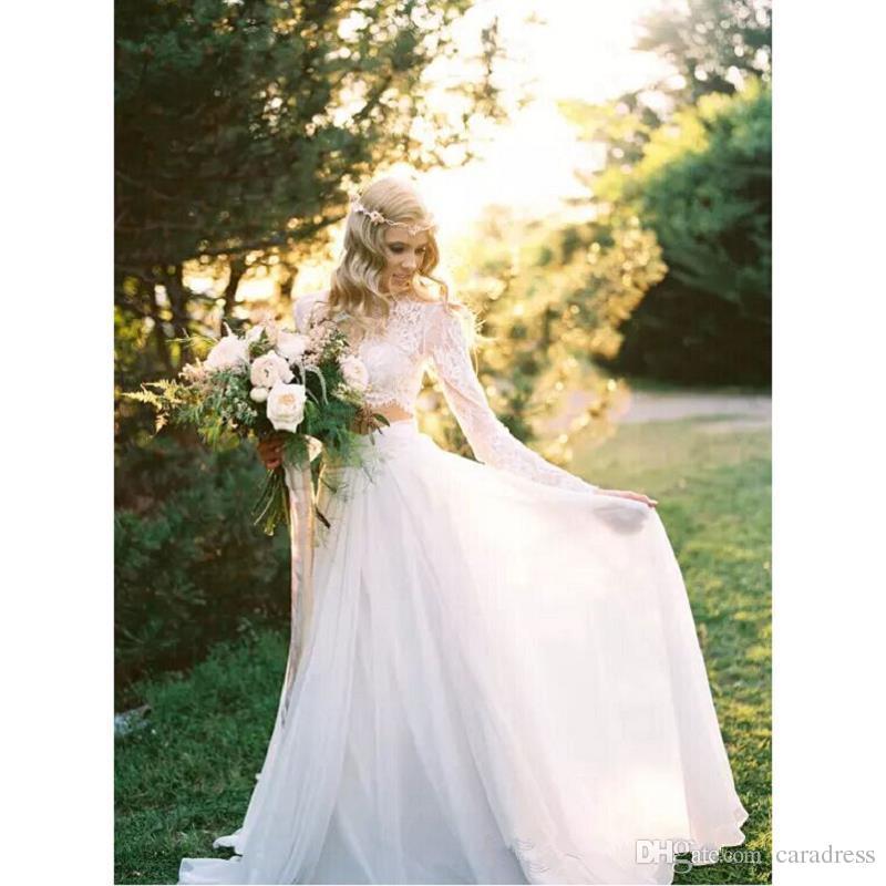 Two Pieces Lace Chiffon Wedding Dresses Plus Size Bohemian Long ...