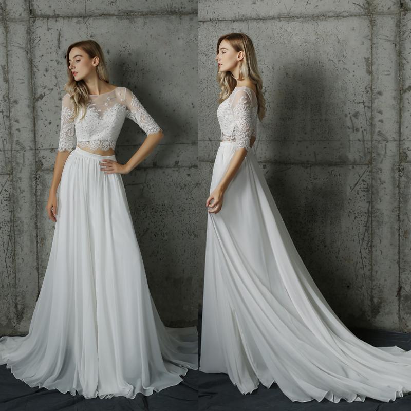 two piece half sleeve chiffon beach bride dress,two piece long ...