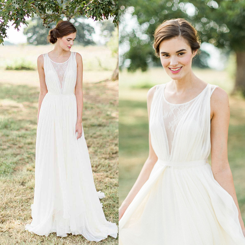 A Line New Style Simple Lace Beach Wedding Dress,Lace Beach Bride ...