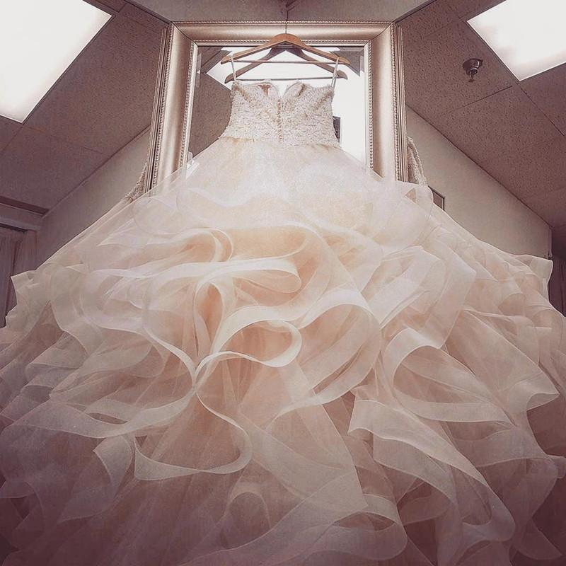 Blush Pink Organza Ruffles Ball Gowns Wedding Dresses With White ...