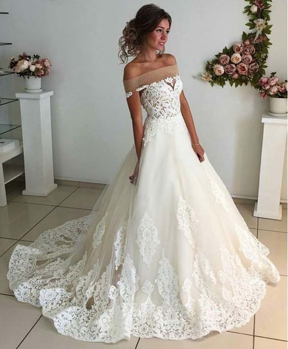 Off Shoulder A Line Full Lace Long Wedding Dresses,Tulle Wedding ...