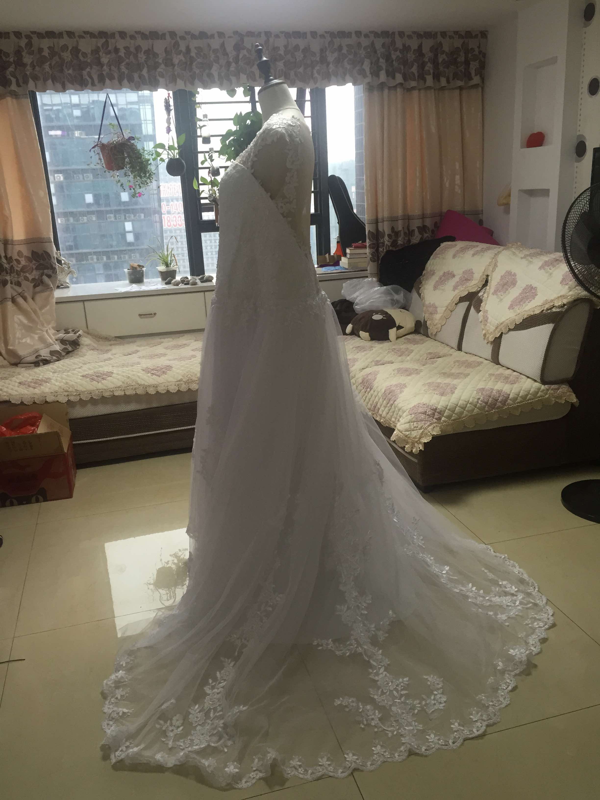 E319 Real Made Long Chapel Train Ball Gown Wedding Dresses, Pregant ...