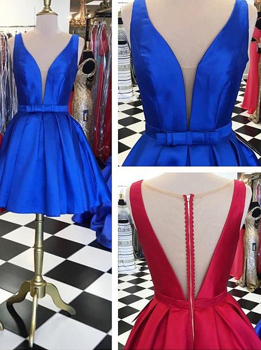 V Neck Satin Short Royal Blue Red Homecoming Dressshort Red Satin
