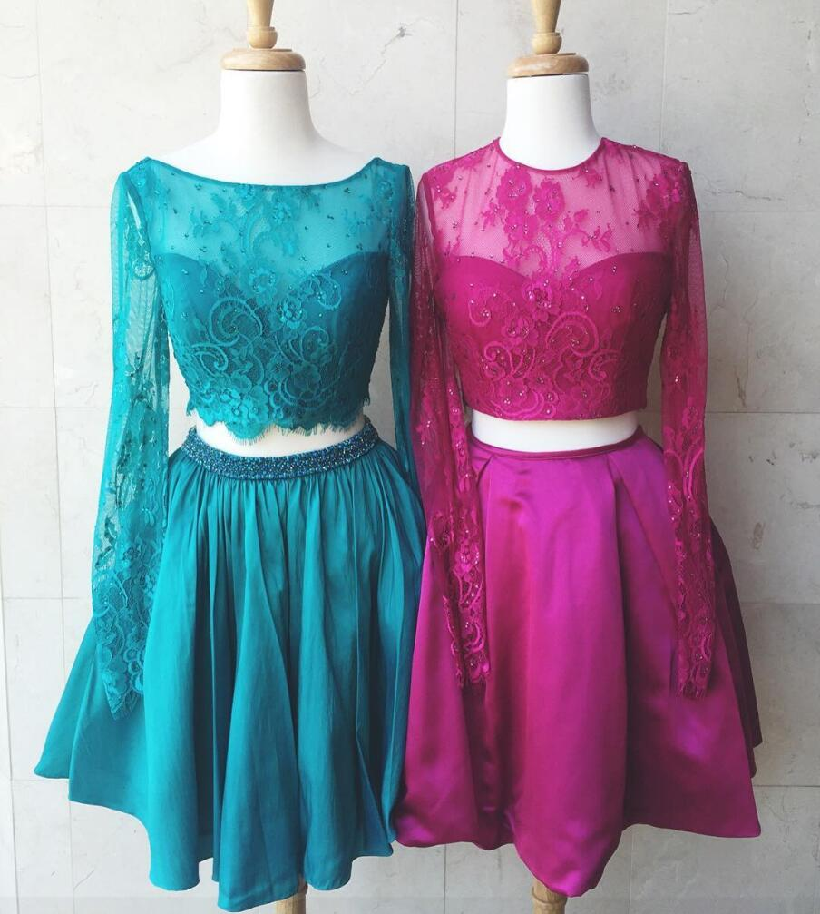 2 Piece Prom Dresses, Short Prom Dress, Lace Prom Dress, Long Sleeve ...