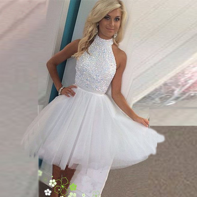 White Tulle Beading Homecoming Dresses,White Party Dresses,Open Back ...