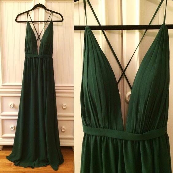 Hunter Green Prom Dress,Backless Evening Dress,Fashion Prom Dress ...
