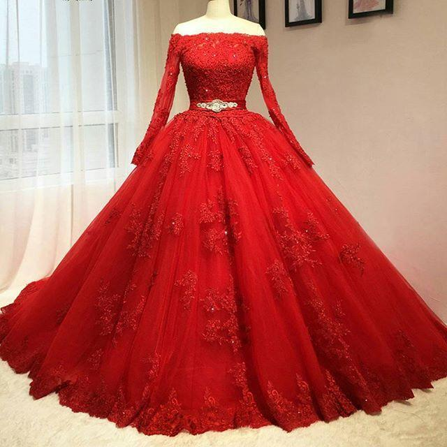 Red Ball Gown Quinceanera Dresses, Prom Dress,Long Prom Dresses ...