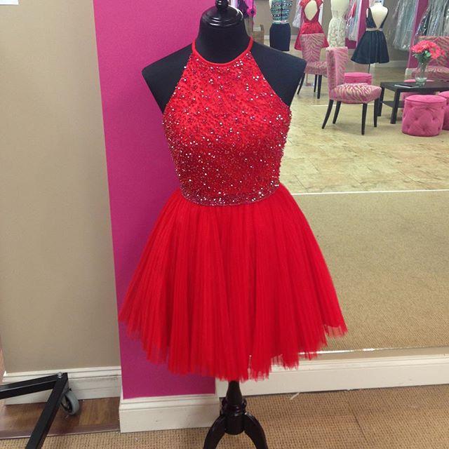 Short Halter Red Prom Dress
