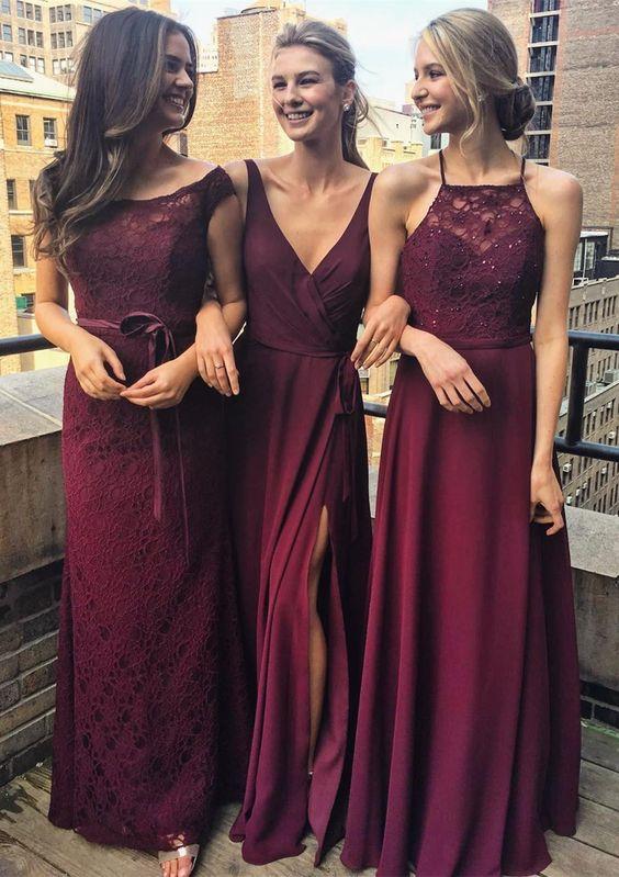 Burgundy Bridesmaid Dress,Lace Bridesmaid Dresses,Sleeveless ...