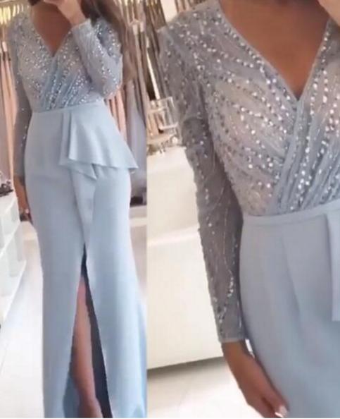Long Sleeve Evening Dress, Dubai Evening Dress, Arabic