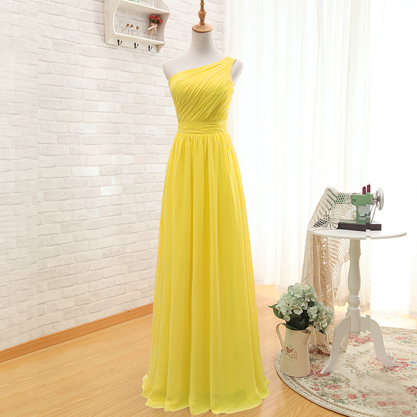 A50 One Shoulder Long Prom Gowns, Empire A Line Floor-Length ...