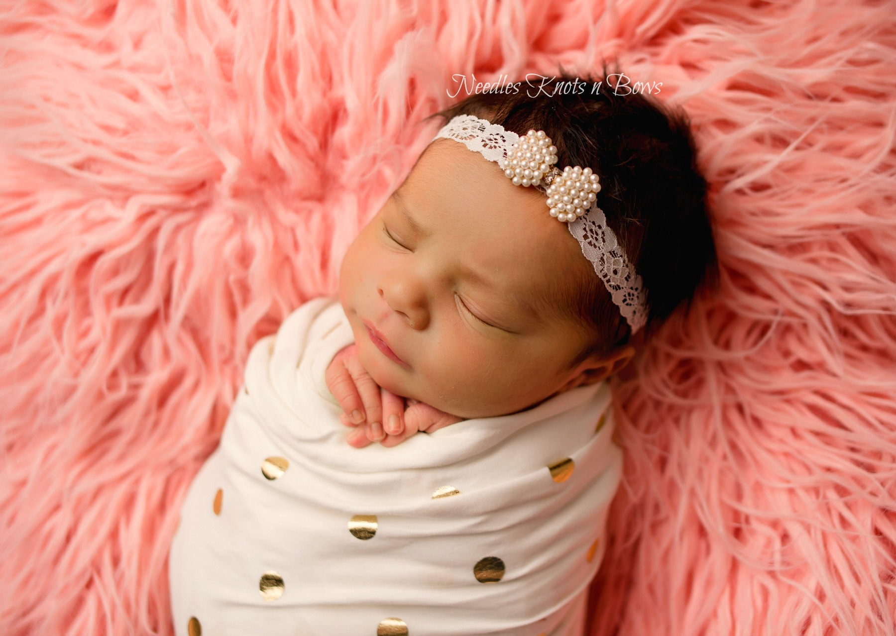 Baby Girls Pearl Bow Lace Headband Shower Gift Christening Wedding Baptism