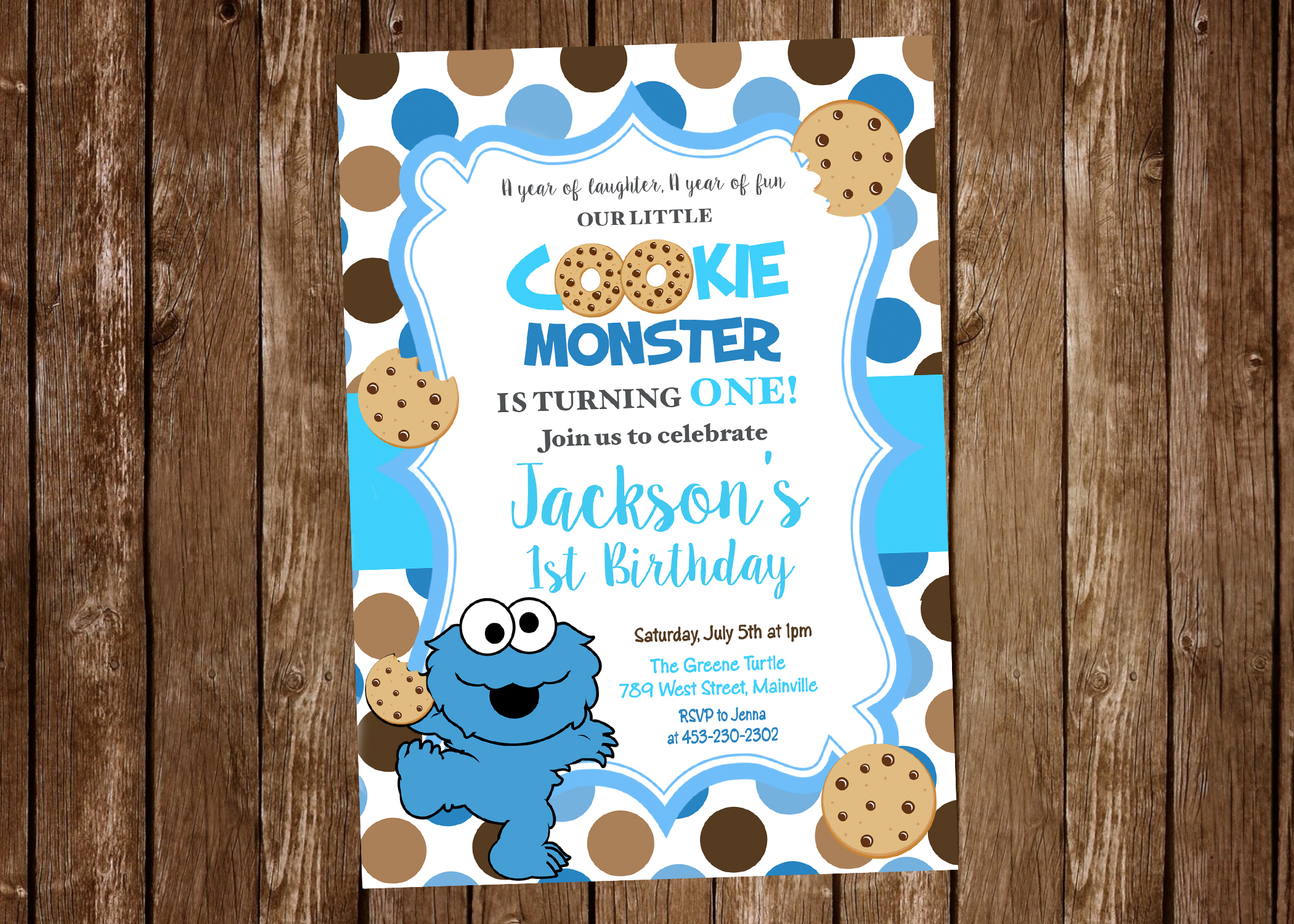 Cookie Monster First Birthday One Year Birthday Party Invitation